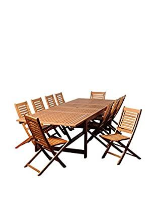 Amazonia Wharton 11-Piece Eucalyptus Extendable Rectangular Dining Set, Brown