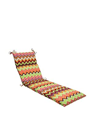 Pillow Perfect Outdoor Zig Zag Chaise Lounge Cushion, Raspberry