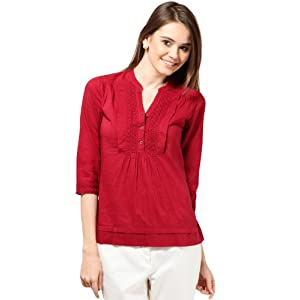 Half Sleeves Trendy Red Top With Cotton Lace Styling - Model Number TSF1753 by The Vanca