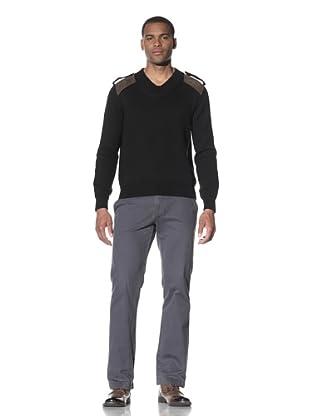 Cruciani Men's V-Neck Patch Knit Sweater (Black)