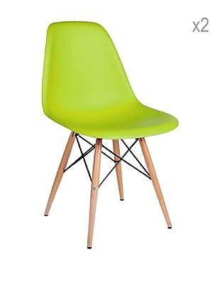 Lo+deModa Set De 2 Sillas Wooden Color Edition Verde