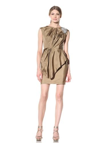 Vera Wang Women's Draped Dress with Jeweled Shoulder Detail (Gold)