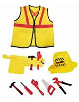 Construction Worker Kids Costume Role Play Set with Tools (8 Pcs)