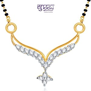 Sukkhi Traditional Marriage CZ Gold and Rhodium Plated Mangalsutra Pendant