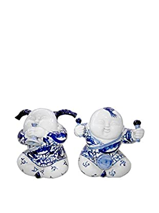 Asian Loft Set of 2 Handcrafted Ceramic Children Playing Music, Blue/White