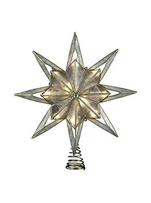 Kurt Adler 10-Light 8-Point Capiz Star Christmas Tree Topper (Smoked)