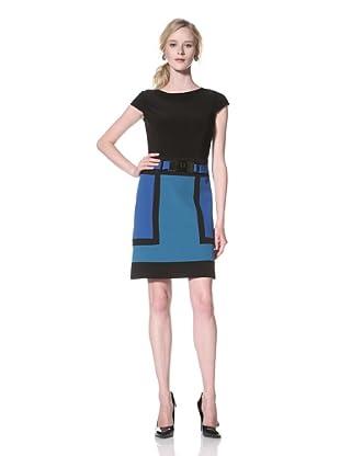 Chetta B Women's Short Sleeve Colorblock Dress (Mallard Multi)