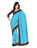 Mistyque Turquoise Chanderi saree with Kalamkari border and blouse (floral)