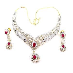 Aria american diamond wedding choker ruby necklace set ad62