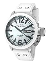 Men'S Ceo Canteen White Mother Of Pearl Dial White Leather (Ce1037)