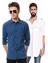 Mens White Pathani Kurta With Blue Shirt