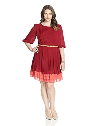 Jessica Simpson Women's Pleated Chiffon Dress with Belt (Sun Dried Tomato)