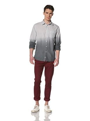 Benson Men's Long Sleeve Woven Shirt (Grey Dip Dye)