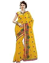 Aadarshini Women's Net Saree (110000000065, Yellow)