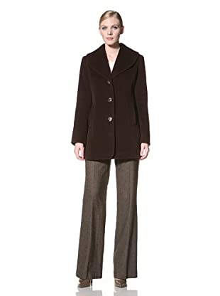 Ellen Tracy Women's Single-Breasted Wool Coat (Mahogany)