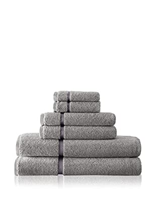 Luxury Home 6-Piece Luxury Egyptian Cotton Towel Set with Sheared Border, Grey