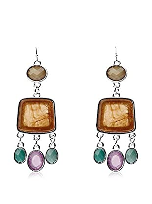 Majique Pendientes Silver Tone, Multicolored