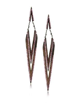 Joanna Laura Constantine Gunmetal and Pink Tribal Hanging Earrings