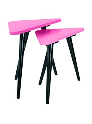 Small Teapoy Table with Shiny Black leg, Pink