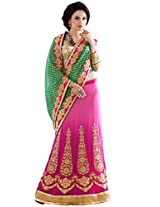 Manvaa green and pink viscose embroidered casual saree