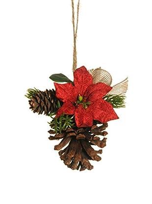 Evergreens Set 12 Colgantes Decorativos Con Flores De Pascua Y Bayas Artificiales Rojo