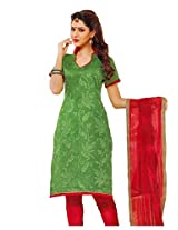 Charu Boutique Women Cotton Dress Material (Smm1541C _Green)