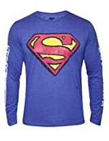 Superman Royal Blue Melange Round Neck Full Sleeves T Shirt