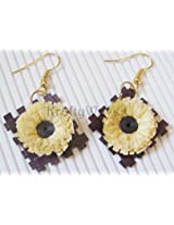Krafty Waves Paper quilled Earrings - Yellow & Brown