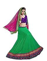 Vibes Women's Net Straight Fit Unstitched Lehenga Choli (L1-8006_Green)