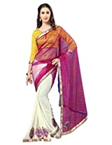 Admyrin White and Pink Georgette Net Saree with Yellow Blouse Piece