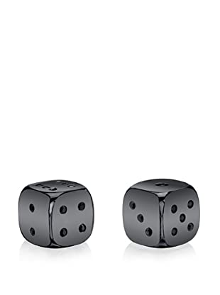 Wilouby Pair of Gunmetal Swarovski Crystal Dice in Glossy Wooden Box