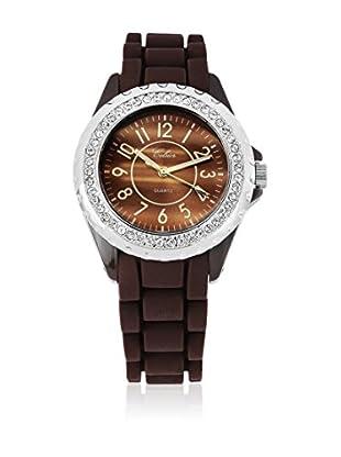 SHINY CRISTAL Uhr mit Japanischem Quarzuhrwerk  braun/weiß 40 mm