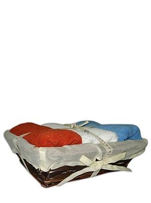 Manterol Toalla Set 3 Invitados con cesta (rojo / blanco / azul)