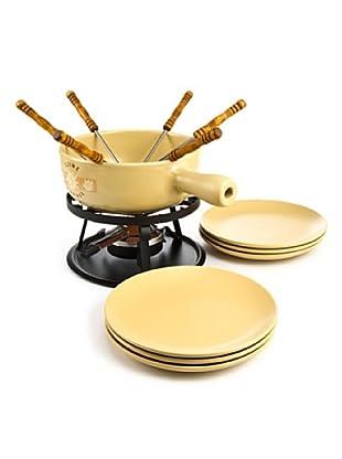 Nouvel Käsefondue-Set Swiss Fondue beige/schwarz