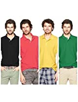 Polo Men's T-Shirts Pack Of 4 Black,Red,Yellow,Green