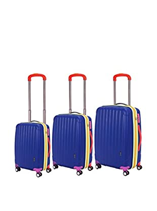 Travelers Club Getaway Collection 3-Piece Oversized Expandable Hardside Double-Spinner Luggage Set, Blue