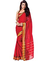Parchayee Women's Cotton Saree (94375A, Red, Free Size)