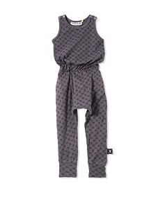 NUNUNU Kid's Checkered Romper (Dark Grey)