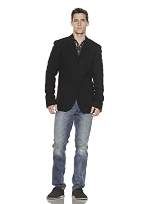 French Connection Men's Bubble Boiled Wool Blazer (Black)