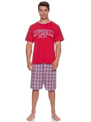 Kumy Pijama Caballero Copperhill Liso (Rojo/Blanco)