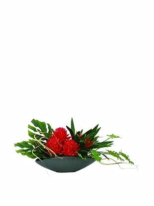 Lux-Art Silks Pincushion Bromeliad Oval (Orange/Green)