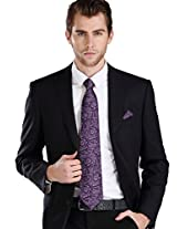 Landisun Lan-7985 Silk Necktie Set {Dark Purple Paisleys}