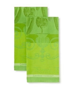 Garnier-Thiebaut Set of 2 Petits Pois Kitchen Towels, Vert