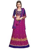 Jiya Presents Women's Multi Embroidered Semi-Stitched Lahenga With UnStitched Blouse Piece.(Purple,Neavy Blue)
