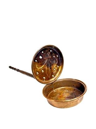 Rare Vintage Copper Fleur-De-Lys Bedwarmer, c. 1900s