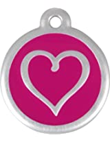 Red Dingo QR Collar Tag, Heart, Small, Hot Pink
