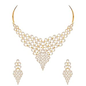 Voylla Gold Plated Diamond Look Necklace Set Inspired By Peacock Plumage