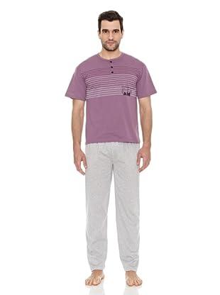 AS-MAN Pijama Verano (Violeta / Gris)