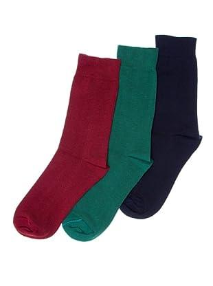 Sockaholic Pack de 3 Pares Calcetines Caña Baja Lisos (Multicolor)