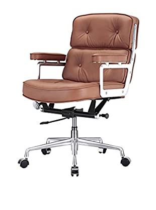 Meelano Office Chair in Italian Leather, Brown